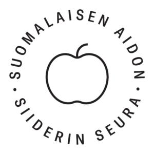 Suomalaisen aidon siiderin seuran logo. Klikkaa kuvaa ladataksesi painokelpoisen version logosta.